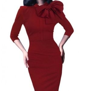 Dresses & Skirts - 1950s Retro 3/4 Sleeve Bow Cocktail Dress